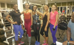 Five of the competing females (Delice Adonis, Xamara Kippins, Adiola Frank, Addis Castello and Vanessa Small) pose for a photograph after a hard workout at the Fitness Paradise Gym. Pix saved as Vanessa31