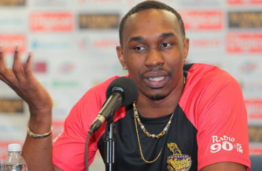 Trinbago Knight Riders captain Dwayne Bravo speaks during a media conference at Kensington Oval on Friday. (Photo courtesy CPL)