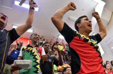 The Guyana players are ecstatic at becoming overall champs for a 12th successive time.