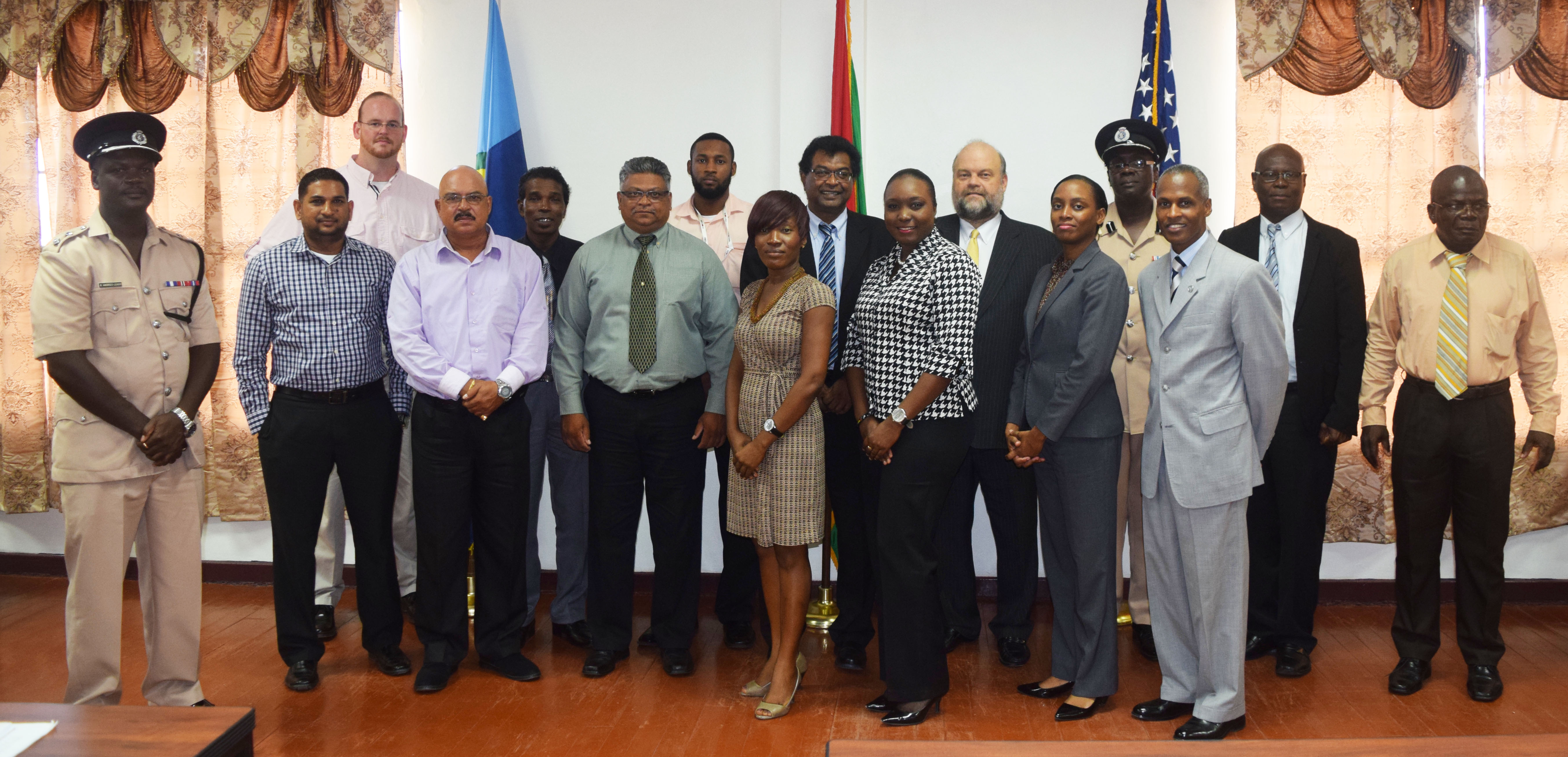 The participants with trainers, Public Security Minister, Khemraj Ramjattan and US Ambassador Perry Holloway. (US Embassy photo)