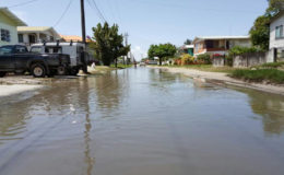 A flooded Kaikan Street in North Ruimveldt. Acting Mayor Sherod Duncan told Stabroek News that during a tour of the community recently issues such as drainage and flooding were raised by residents. (Photo courtesy of Sherod Duncan)