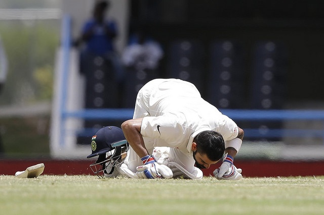 Virat Kohli during the second day of the first Seagram's Royal Stag Test Match between West Indies and India at Sir Vivian Richards Cricket Ground, Antigua on Friday, July 22, 2016. WICB Media Photo
