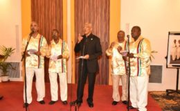 President Granger surprised the audience with a performance with the Victoria Region Quartet, formerly known as the Circle of Love. (Ministry of the Presidency photo)