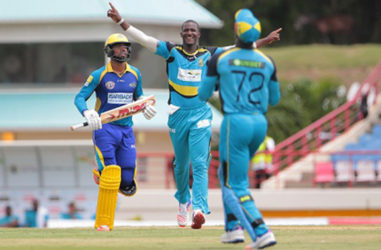 St Lucia Zouks captain Darren Sammy celebrates one of his three wickets against Barbados Tridents yesterday. (Photo courtesy CPL) wicket of Ahmed Shahzad (out of shot) as Andre Fletcher (R) completes the catch and Kyle Hope (L) looks on during Match 22 of the Hero Caribbean Premier League St Lucia Zouks v Barbados Tridents at the Daren Sammy Cricket Stadium in Gros Islet, St Lucia. Photo by Ashley Allen/Sportsfile