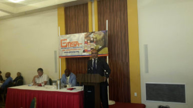 Former President Bharrat Jagdeo addressing the GMSA business luncheon at the Pegasus Hotel yesterday