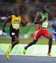 Jamaica's Rusheen McDonald chasing Grenada's Kirani James in the heats of the men's 400 metres (Jamaica Gleaner photo)