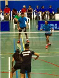 Guyana's Narayan and Priyanna Ramdhani in action in the mixed doubles semi-final on Friday.