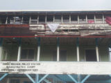 The Anna Regina Police Station, Magistrate's Court and G Division Headquarters: The boards on the wall are falling off and the gaps have now been blocked with a piece of plyboard. Stabroek News understands the top floor provides housing accommodation for ranks and that when it rains the roof leaks. In addition, the toilet facilities available to the ranks are poor.