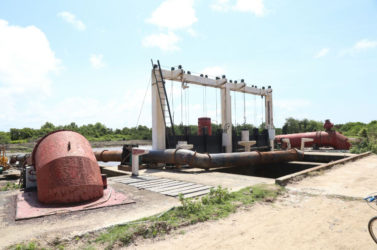 The giant electric pumps that are now working at the Pump Station