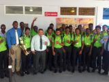 THREE-TIME CHAMPS! The victorious Guyana U19 team along with GCB Executives and Director of Sport Chris Jones.