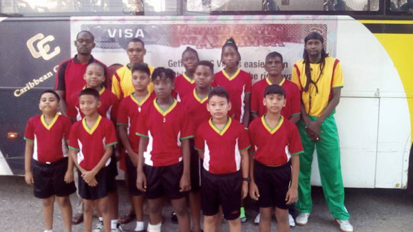 The Guyana pre-cadet table tennis team prior to the team's departure on Sunday morning.