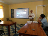 Head of the Quartzstone gold project Mukesh Arora at the meeting in Bartica.