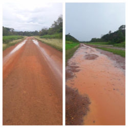 These photos show the Eteringbang airstrip before and after the storm. (Photos from Captain Gerry Gouveia's Facebook page)