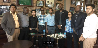 In picture Director of Sports Christopher Jones and Attorney-at-Law James Bond with President of the GCF Irshad Mohamad and other team members. Missing are Julia and Jessica Clementson who are based in Barbados.