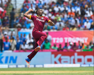 All-rounder Dwayne Bravo exults after claiming a wicket during India's innings in the opening Twenty20 International yesterday. (Photo courtesy WICB Media)