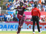Opener Evin Lewis celebrates his maiden Twenty20 International hundred yesterday. (Photo courtesy WICB Media)