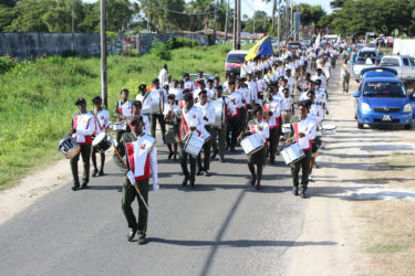The Guyana Conference of Seventh Day Adventists yesterday made a statement against violence against women and children with a march from the National Park on Thomas Lands to the D'Urban Park on Homestretch Avenue where a rally was held. In photo is a section of the hundreds of Adventists who participated. (Photo by Keno George)