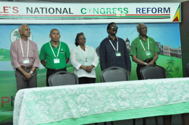From right are PNCR Leader, President David Granger; PNCR Chairman, Basil Williams; PNCR Vice-Chairs Volda Lawrence and Dr George Norton respectively and PNCR Treasurer Ronald Bulkan. (PNCR photo)