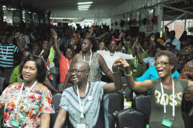 Jubilant delegates at the PNCR Congress yesterday (PNCR photo)