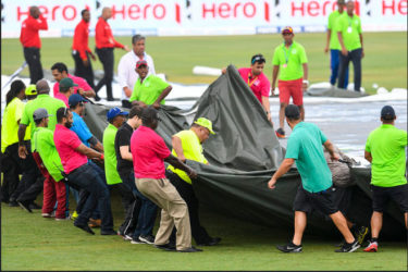 Ground staff at work during the second Paytm Twenty20 International between West Indies and India at Central Broward Stadium in Lauderhill, Florida, United States of America yesterday. Photo by WICB Media/Randy Brooks of Brooks Latouche Photography.