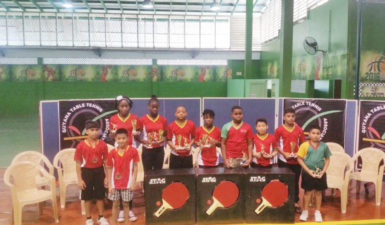 The Guyana Table Tennis team pose with their trophies following yesterday's award ceremony at the CASH.