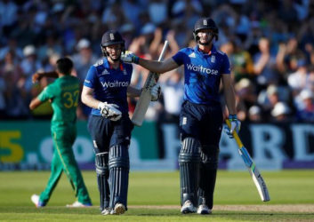 Jos Butler and Eion Morgan celebrate the end of England's record breaking innings. (Reuters photo)