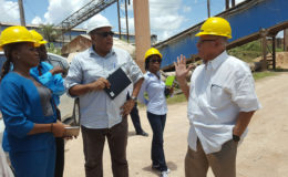 Minister Raphael Trotman (centre) during the tour of Bosai. (Ministry of Natural Resources photo)