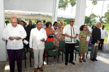 From left: Dr. Richard Van West-Charles; former Opposition Leader,  Robert Corbin; Minister of State,  Joseph Harmon; Minister of Social Protection,  Volda Lawrence and Minister of Communities,  Ronald Bulkan among the attendees.  (Ministry of the Presidency photo)