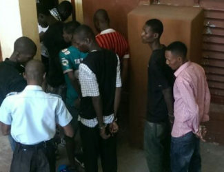 A Group of the Haitian men after they were charged for illegal entry