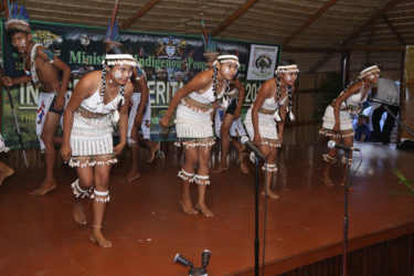 The Jawalla Cultural Group performs at last evening's ceremonial launch of Indigenous Heritage Month.