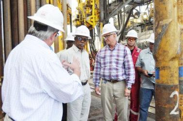 President David Granger visiting Exxon offshore drilling operations