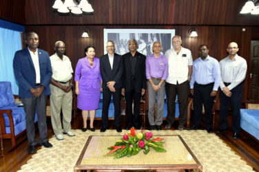 From left are:City Councillor Alfred Mentore;Chairman of the Finance Committee of the Georgetown Mayor and City Council,  Oscar Clarke;Mayor of Georgetown,  Patricia Chase-Green;Minister of Business,  Dominic Gaskin; Minister of Communities, Ronald Bulkan; Christopher Fernandes, former Chief Executive Officer of John Fernandes Limited;former Chairman of the Private Sector Commission, Ramesh Persaud; Vice President of the Georgetown Chamber of Commerce and Industry and Vishnu Doerga. (Ministry of the Presidency photo)