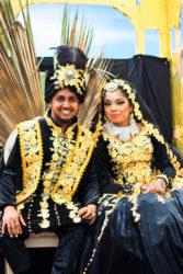 Hashim Alli and Melicia Partab in their Muslim wedding attire