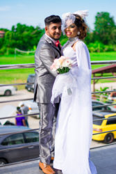 Hashim Alli and Melicia Partab in their English wedding attire