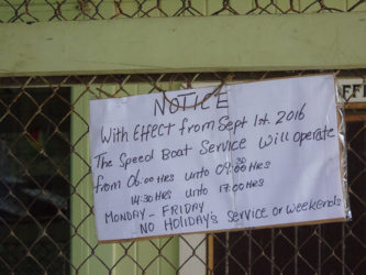 The notice that greeted the public at the New Amsterdam stelling