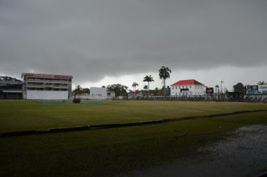 Overcast conditions at Bourda yesterday
