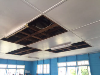 The ceiling at the Springlands Magistrate's Court, from where a stench has been emanating