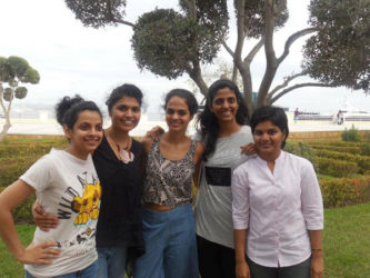 India's women chess team participating at the 42nd Olympiad in Baku, Azerbaijan. From left: International Master Padmini Rout, Woman Grandmaster Soumya Swaminathan, International Master Tania Sachdev, Grandmaster Harika Dronavalli and Woman International Master Pratyusha Bodda. The Indian women's team is ranked No 5 in the world, and after six engagements, has not lost one round in the Olympiad competition.