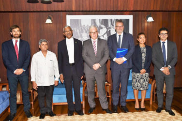 From L-R are EIB Investment Officer, Floris Vermeulen; Minister within the Ministry of Finance, Jaipaul Sharma; President David Granger; Vice President, Pin van Ballekom; Adviser to the Vice President,  Malaya Zumel and Loan Officer,  Angel Diez Fraile