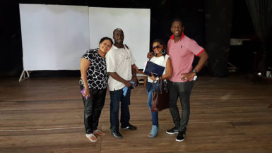 Producer Desiree Edgill, actor John Phillips, actress Sonia Yarde and Director Jude Idaba at the Theatre Guild.