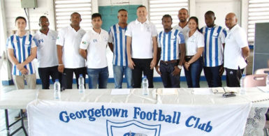 Newly appointed GFC Head-coach Brazilian Fabiano Agrippino (centre) posing with members of the GFC Management Staff and Team Roster following his presentation ceremony at the club's Bourda location