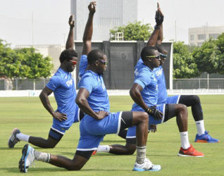 West Indies go through a training session at the ICC Cricket Academy in preparation for their series against Pakistan. (Photo courtesy WICB Media)