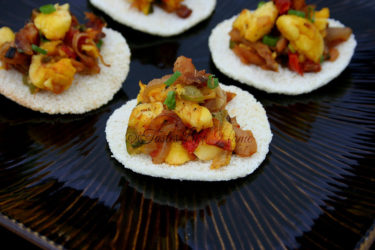Toasted Cassava Bread with Ackee & Salt fish (Photo by Cynthia Nelson)