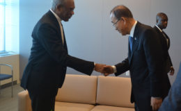 President David Granger being greeted by the UN Secretary-General, Mr. Ban Ki-moon prior to their meeting yesterday.  (Ministry of the Presidency photo)