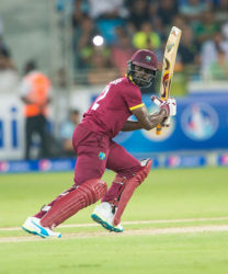 West Indies batsman Andre Fletcher gathers runs behind square on the off-side during his 37-ball 29 against Pakistan in the second Twenty20 International on yesterday. (Photo courtesy WICB Media)