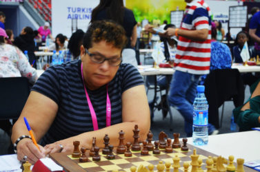 Maria Varona-Thomas (in photo), qualified for the international chess title of Woman FIDE Master at the 42nd Chess Olympiad in Baku, Azerbaijan, two weeks ago. It was the first major title for a female chess player from Guyana. Maria contested the required 11 games on Board One for Guyana and scored victories against fellow board one players from the following countries: Tanzania, Aruba, Chinese Tai Pei, Sudan, Fiji, Barbados and Palestine. She drew with Qatar and Wales. Maria lost against Zambia and Singapore. She placed 21st from a total of 663 women participants at the Olympiad.