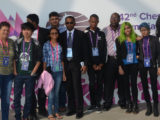 The Guyana male and female chess players just outside the venue in Baku.