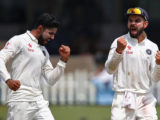 India's Ravindra Jadeja, left, and Virat Kohli are ecstatic over the dismissal of Lune Ronchi (not in picture). (Reuters photo)