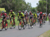 The peloton which unsuccessfully tried to catch the podium finishers yesterday.