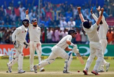 The Indian players celebrate after last man Neil Wagner is dismissed by Ravichandran Ashwin. (Reuters photo)